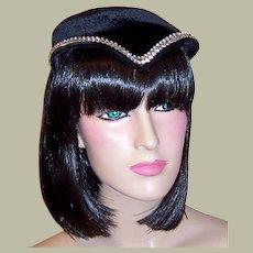 Art Deco Simple & Chic Black Velvet & Rhinestone Chapeau