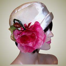 Handsome White Silk Velvet Chapeau with Over-Sized Rose and Bud