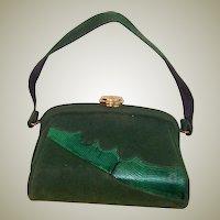 1940's Green Velveteen & Dyed Lizard Pouch-Style Handbag