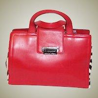 Adrienne Vittadini-Red Leather & Pony Skin Printed Zebra Handbag