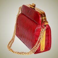 Vintage Red Alligator Handbag with Double, Gold-Tone Chain Handles