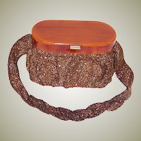 1940's Copper-Colored Beaded, Oval Shaped, Handbag with Bakelite Lid