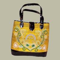 Philippe Model-Yellow Silk & Black Patent Leather Handbag