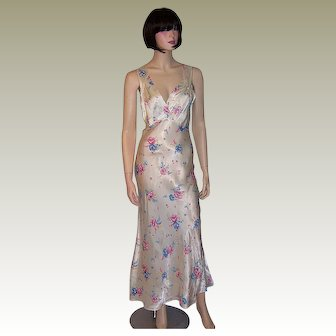 1930's White Satin Negligee with Printed Floral Designs