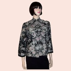 Elaborately Hand-Embroidered Chinese Jacket with Pale Pink & Blue Chrysanthemums on Black Silk Background