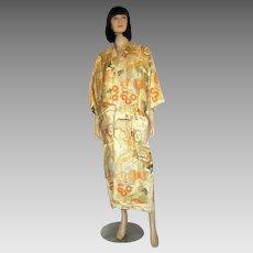S. Nishimura Vintage Silk Brocaded  Japanese Kimono with Obi/Sash