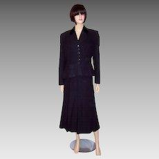 Early 1950's Vintage,  Midnight  Blue/Black Jacket & Long Skirt