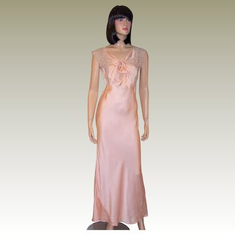 1930's Pale Pink Silk Negligee Trimmed in Mocha Colored Lace