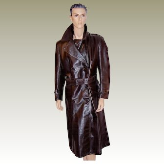 1940's Men's Brown Leather, Double-Breasted  Greatcoat