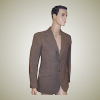1930's Men's Camel & Gray Tweed Bespoke Single-Breasted Blazer