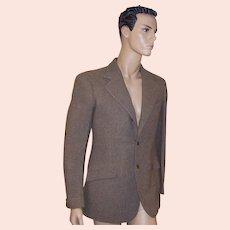 1930's Men's Camel & Gray Tweed Bespoke Single-Breasted Blazer