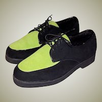 Buffs by Buffalino-Men's Chartreuse & Black Suede Shoes