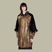 Art Deco Black Silk Velvet & Gold French Lame Opera Coat