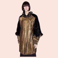 Art Deco Black Silk Velvet & Gold French Lame Opera Coat