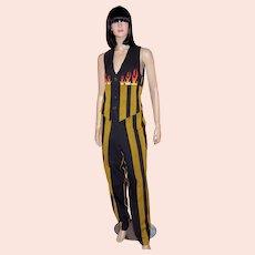 Armand Basi-Juste de Nin-Black and Gold Striped Pant Suit