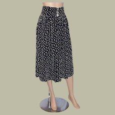 1960's Vintage Black & White Polka-Dotted Skirt