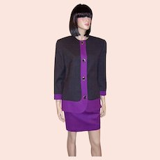 Dramatically Designed Violet & Charcoal Gray Women's Suit