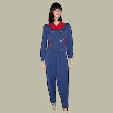 1940's Navy & Red Ski Suit with Reversible Jacket