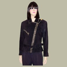 Simple & Dramatically Designed Black Suede Jacket with Asymmetrical Closure