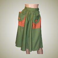 1950's Moss Green Summertime Garden Skirt with Pockets