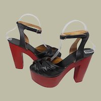 Extraordinary 1970's Black and Red Platform Shoes (New Old Stock-Never Worn)