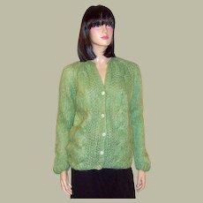 1960's Celery Green Italian Hand Knit Cardigan Sweater