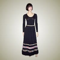 1960's Black Bodysuit with Matching Black Skirt with Embroidery