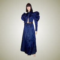 Vivid Navy Victorian (1890's The Gilded Age) Silk Bodice & Matching Full Length Skirt