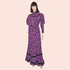 Victorian Purple & White Printed Silk Bodice & Skirt with Slight Train