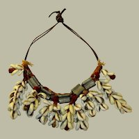 Vintage West African Cowrie Necklace on Leather