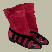 Seducta-France, Red Suede and Black Leather Pull-On Boots