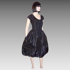 Nettie Rosenstein Black Silk Dress with Balloon Hem