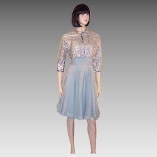 Ceil Chapman Blue Chiffon Dress with Silver Sequined Bolero