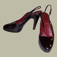Prada-Black, Open-Heeled, Platform Pumps