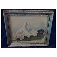 Original ink and watercolor drawing of the Matterhorn in Switzerland