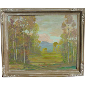 David Stirling (1887 -1971) American well listed artist autumn meadow aspen trees  mountains painting 1939 Estes Park Colorado