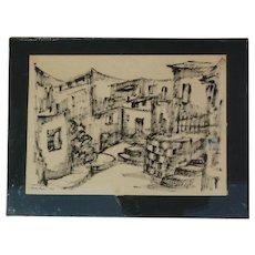 Blanka Tauber  (1910 - 1989) Czech Republic Israeli  artist crayon drawing city street scene