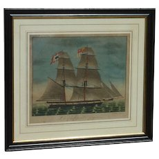Early 19th century watercolor ink painting of French sailing ship on a high seas