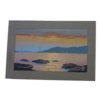 Golden Gate Bridge at sunset from Tiburon signed Milo watercolor painting