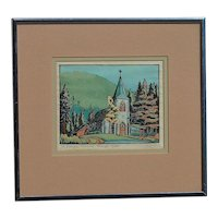 Margaret Dorothy Shelton (1915 - 1984) Canadian well listed artist linocut color print of St. Georges Church Banff Canada pencil signed