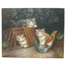 Cat art oil on wood panel painting of three kittens at play