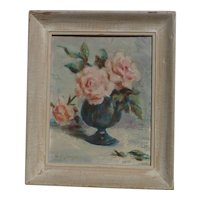 Dorothy Glasgow 20th century american artist oil painting of pink roses