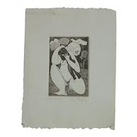 Tony Mafia (1931 - 1999) American artist modernist etching of a woman holding baby