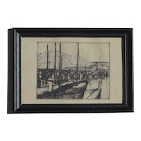 Small artwork of San Francisco Yacht Harbor scene etching pencil signed and titled