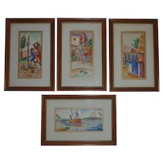 Set FOUR Haitian art David Rousier listed artist naive ink and watercolor paintings signed