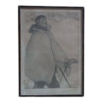"Antoine (Anto) Carte (1886 -1954) Belgian listed artist black white lithograph 1919 ""L'aveugle"" pencil signed blind man"