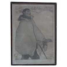 "Antoine (Anto) Carte (1886 -1954) Belgian listed artist black white lihtograph 1919 ""L'aveugle"" pencil signed"