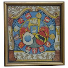 Swiss heraldic original art watercolor painting featuring dancing bears and canton shields
