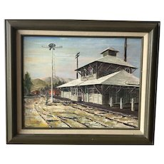 Historical Saugus Train Station California impressionist oil painting artist Thornburgh