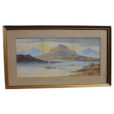 William Henry Earp (1831-1914) English well listed artist watercolor painting of lake Geneva surrounded by mountains
